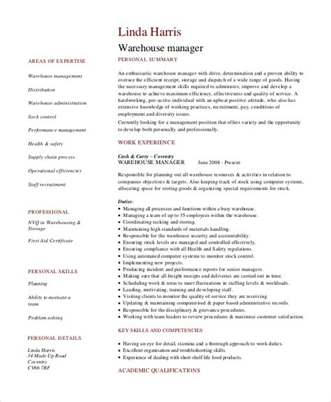 Warehouse Duties For Resume