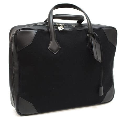 hermes black leather canvas carry on suitcase