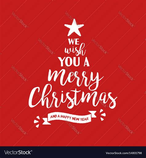 merry christmas quote tree lettering royalty  vector