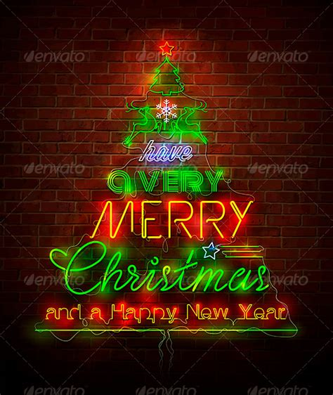 Home Decorative Item christmas neon sign against red wall graphicriver