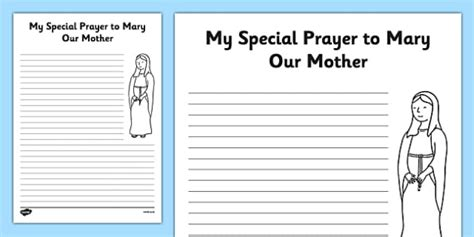 Prayer Template My Prayer To Mary Our Mother Mary Our Lady Writing A Prayer Template