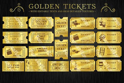 Golden Tickets Templates Set Illustrations Creative Market Golden Ticket Template Word Document