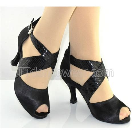 salsa shoes free shipping wholesale black satin ballroom salsa