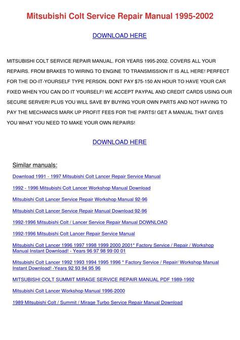 service repair manual free download 1991 mitsubishi chariot parking system mitsubishi colt service repair manual 1995 20 by