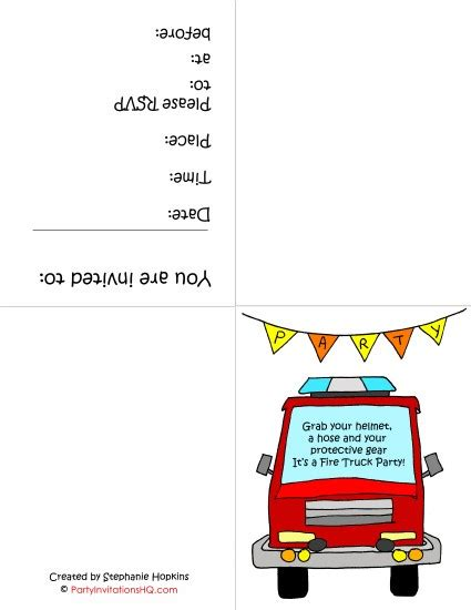 8 best images of fire truck birthday printables free