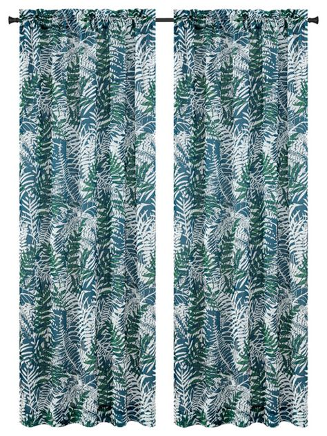 tropical sheer curtains urbanest palm set of 2 faux linen sheer curtain panels