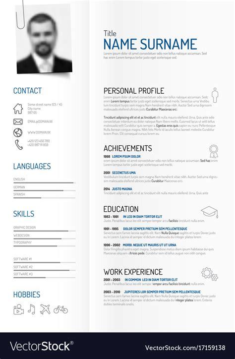 Creative Minimalist Cv Resume Template Royalty Free Vector Minimalist Resume Template Free