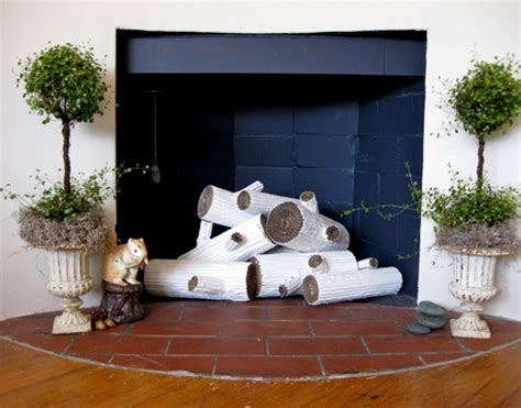 Diy Cardboard Faux Logs To 15 Beautiful Diy Ideas For Your Fireplace Design Sponge