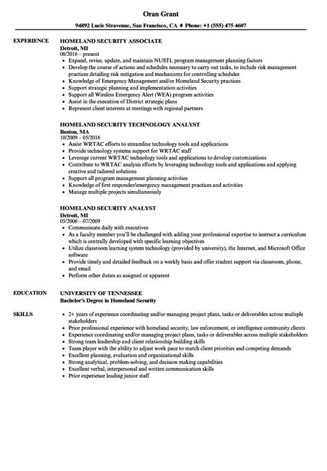 Homeland Security Guard Sle Resume by Homeland Security Guard Sle Resume Patent Analyst Sle Resume Fax Exles