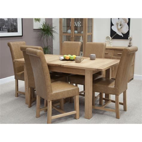 Oak Dining Table And Leather Chairs Boston Dining Table Extending With Six Leather Chairs Set Solid Oak Furniture Ebay