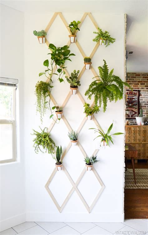 wall garden planter diy wood and leather trellis plant wall vintage revivals