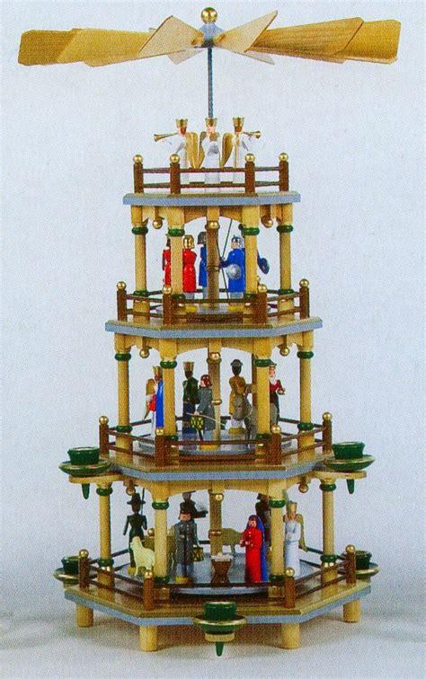 German Handcraft Imports - colorful nativity german pyramid 4 tier