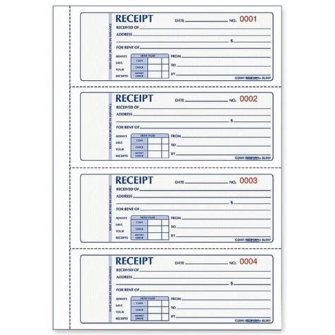 free printable receipts rediform rent receipt book