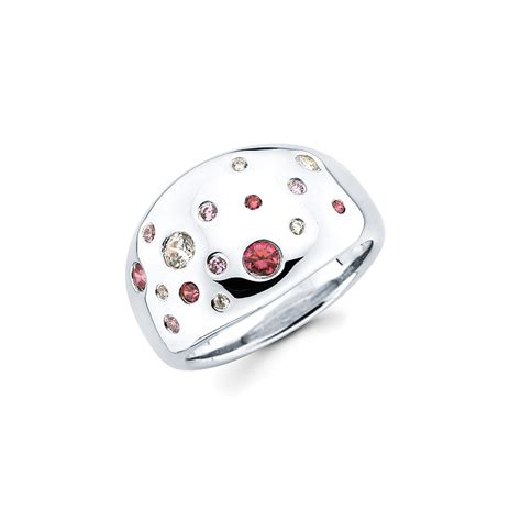 lotopia bold confetti sterling silver ring with pink and