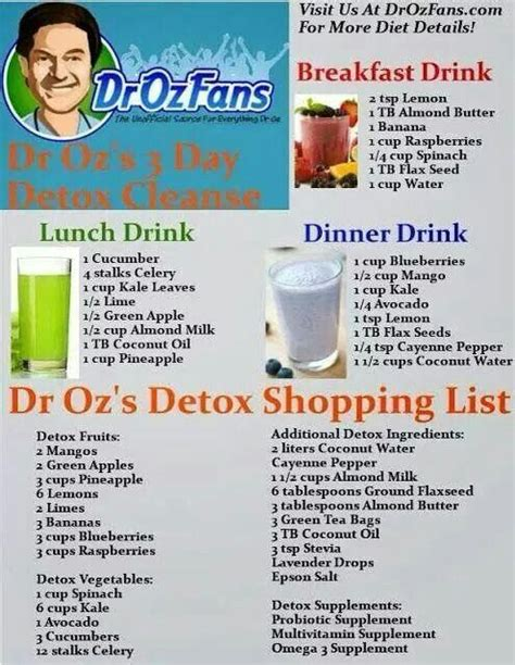 Purify Detox Drink by Dr Oz Shopping List And Drinks Health Fitness