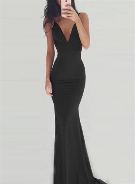 Backless V Neck Dress v neck sleeveless backless maxi prom dress oasap