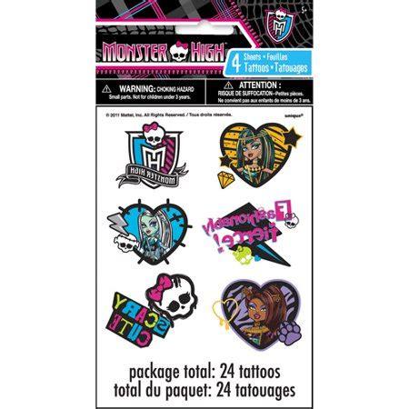 monster high tattoos high tattoos 24ct walmart