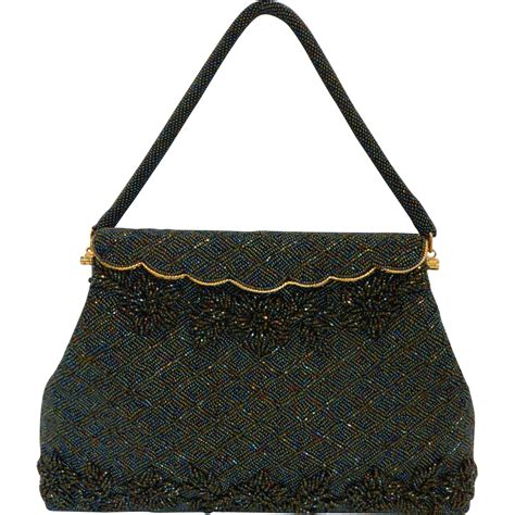 beaded bag vintage green beaded bag handbag purse mint from