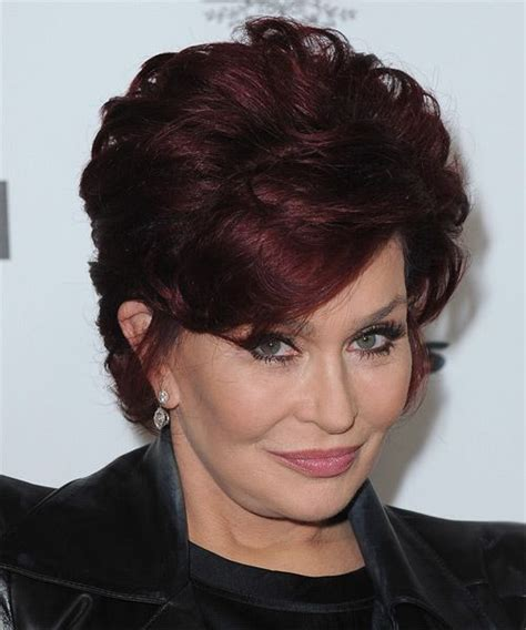 sharon osbourne hairstyles sharon osbourne short straight formal hairstyle dark red