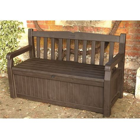 outdoor bench with storage keter iceni eden plastic garden storage bench box 265 litre waterproof ebay