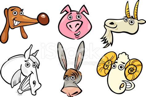 Cartoon Farm Animals Heads Set stock photos   FreeImages.com