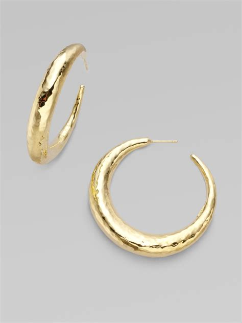 ippolita 18k gold medium chunky hoop earrings in gold lyst