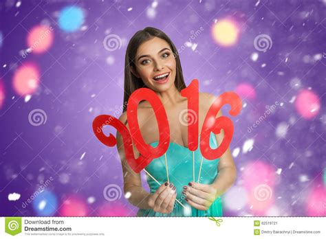 new year model model with sign of new year 2016 stock photo image 62519721