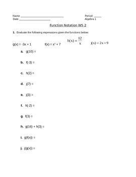 Algebra 1 Function Notation Worksheet by Function Notation Worksheet 2 By Camfan54 Teachers Pay