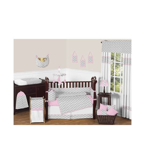 Zig Zag Crib Bedding Sweet Jojo Designs Zig Zag Pink Grey Chevron 9 Crib Bedding Set