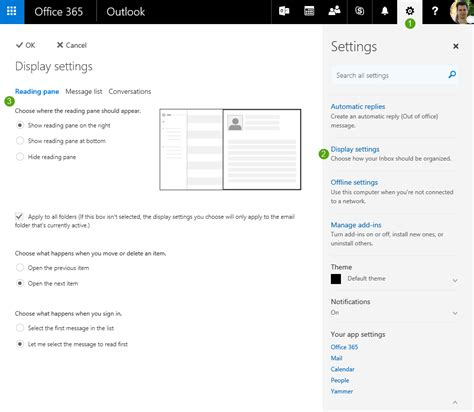 Office 365 Outlook Display Settings Setting The Reading Pane At The Bottom And Other Display
