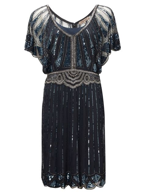 jigsaw design clothes jigsaw infinity bead flapper dress in blue dark navy lyst