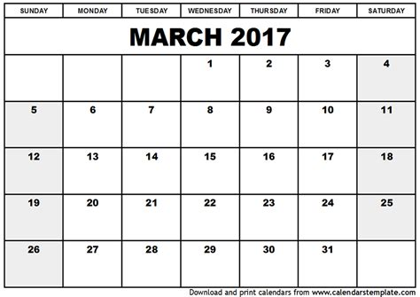 Printable March Calendar 2017 march 2017 calendar template