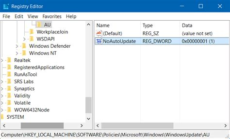 install windows 10 regedit how to turn off automatic updates in windows 10 via registry