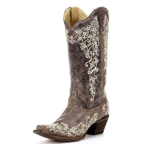 A1094 Women's Corral Brown Crater Bone Embroidery Snip Toe