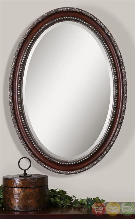 Oval Vanity Mirrors For Bathroom Montrose Traditional Distressed Mahogany Silver Oval Vanity Mirror 14196