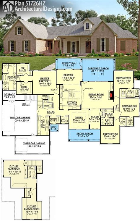 653667 french acadian four bedroom with many extras house plans floor plans home plans plan 51726hz 4 bed french country with upstairs expansion