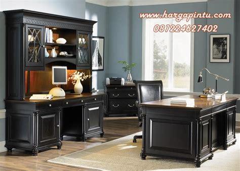 Meja Kerja Kayu Mahoni set meja kantor warna hitam kayu mahoni harga pintu