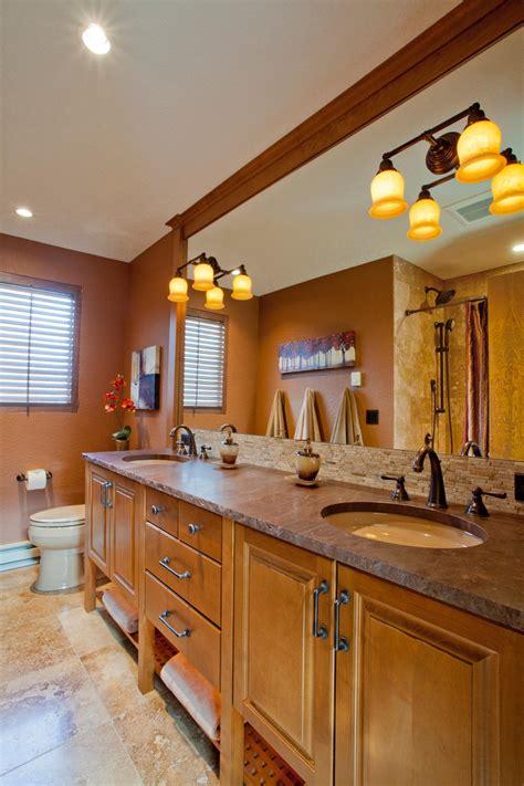 brown craftsman bathroom with long double vanity hgtv
