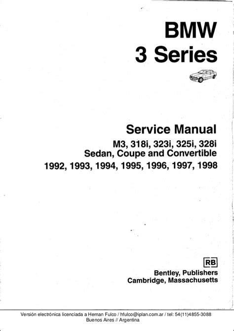 free car repair manuals 1996 bmw m3 instrument cluster bmw 3 e36 series workshop manual bentley publishers