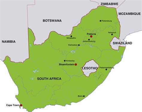 south africa map with cities south africa map capital cities