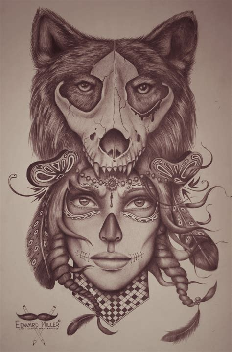 animal head tattoo tumblr wolf skull head by edwardmiller on deviantart