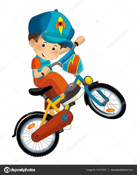 Imagenes De Niños Jugando En Bicicleta   ni 241 o de dibujos animados en la bicicleta fotos de stock