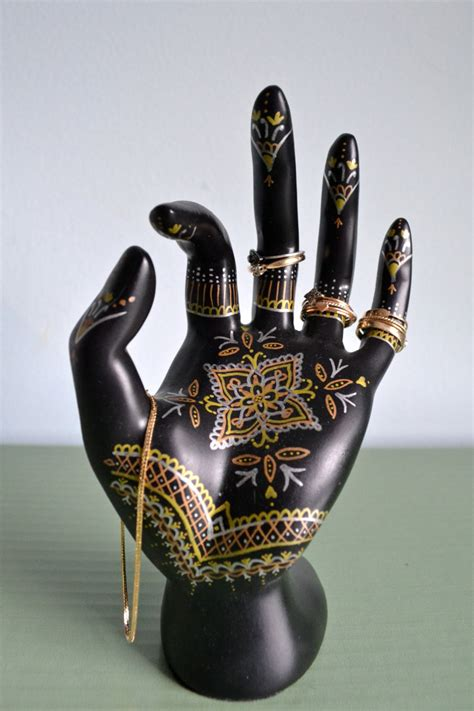 tattoo hand jewellery holder henna hand jewelry display hand painted ring holder jewelry