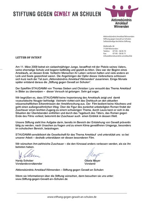 Letter Of Intent Documentary Partner Und Links Staudamm