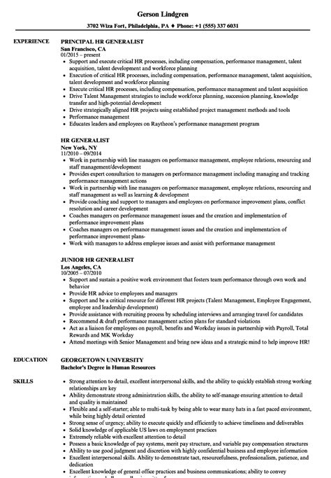 Human Resource Generalist Resume by Hr Generalist Resume Sle Sarahepps