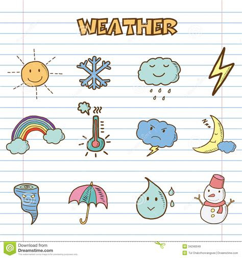 doodle sign in weather icons doodle royalty free stock images image