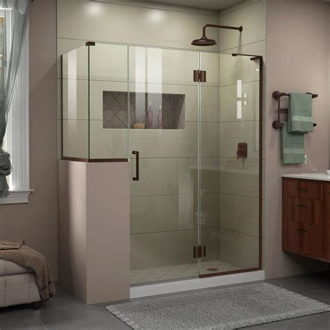 Shower Door Bronze Shop Dreamline Unidoor X 60 In To 60 In W Frameless Rubbed Bronze Hinged Shower Door At