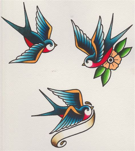 how to draw a of swallows in a retro style