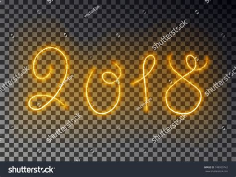 happy 2018 new year light line stock vector 748959742