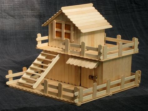 cara membuat rumah hamster dari stik 23 beautiful craft created with popsicle sticks ice